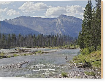 Fly Fishing On The South Fork Of The Flathead River Wood Print by Merle Ann Loman