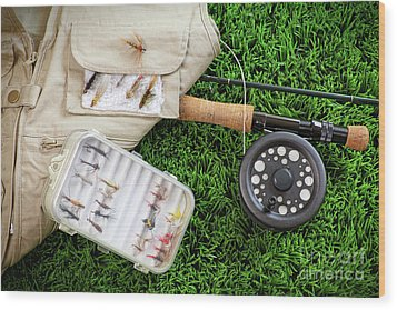 Fly Fishing Rod And Asessories Wood Print by Sandra Cunningham