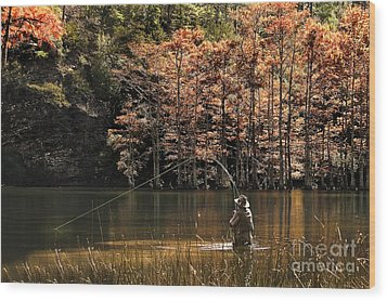 Fly Fishing  Wood Print by Tamyra Ayles