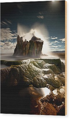 Fly Geyser @ Night Wood Print by Deryk Baumgaertner