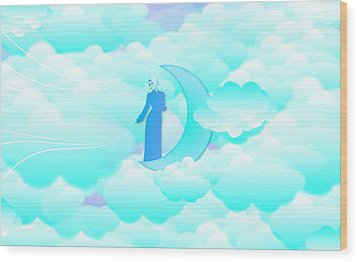 Fly In The Sky Wood Print by Islamic Cards