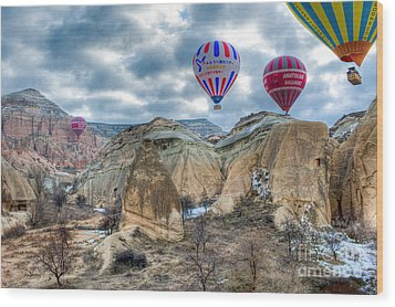 Fly Into Kappadokia Wood Print by Juergen Klust