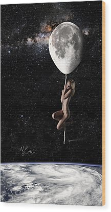 Fly Me To The Moon - Narrow Wood Print by Nikki Marie Smith