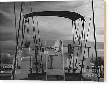 Flybridge On A Charter Fishing Boat In Early Morning Light Key West Florida Usa Wood Print by Joe Fox