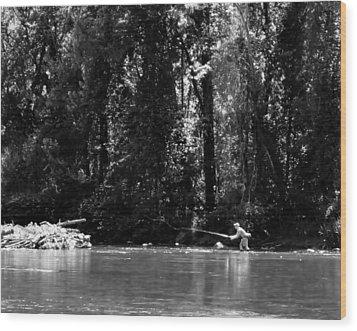 Flyfishing In The Watauga Wood Print