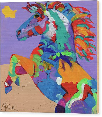 Flyin Hooves Wood Print by Tracy Miller
