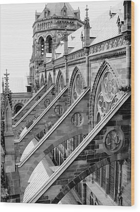 Flying Buttresses Bw Wood Print