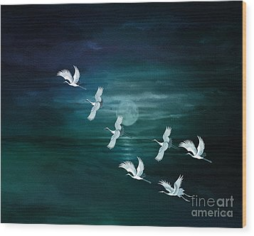 Flying By The Moon Bay Wood Print by Bedros Awak