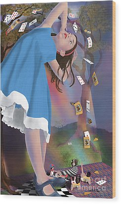 Flying Cards Dissolve Alice's Dream Wood Print by Audra D Lemke