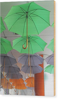 Flying Colorful Umbrellas  Wood Print by Diana Dimitrova