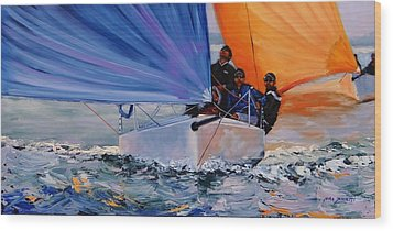 Flying Colors Two Wood Print by Laura Lee Zanghetti