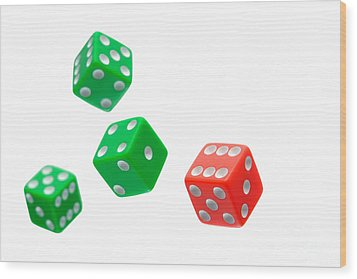 Flying Craps Dice  Wood Print by Olivier Le Queinec