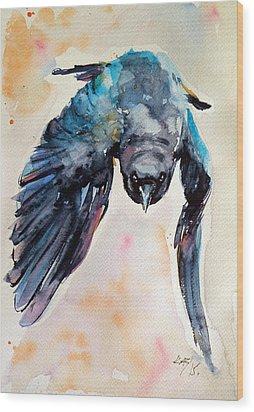 Flying Crow Wood Print