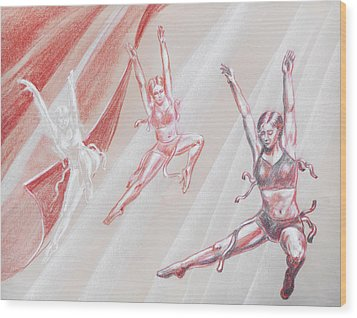 Flying Dancers  Wood Print by Irina Sztukowski