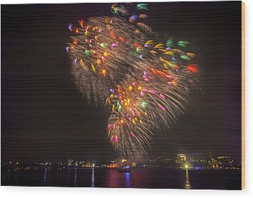 Flying Feathers Of Boston Fireworks Wood Print by Sylvia J Zarco