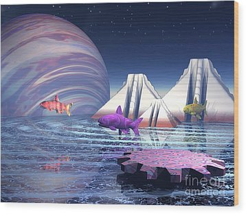 Wood Print featuring the digital art Flying Fish by Jacqueline Lloyd