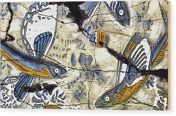 Flying Fish No. 3 - Study No. 2 Wood Print by Steve Bogdanoff
