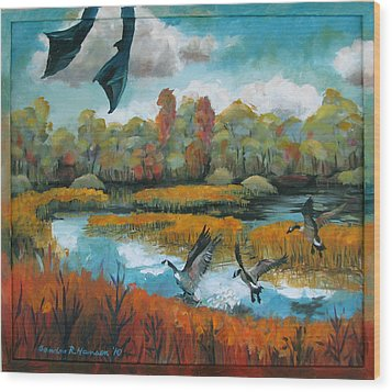 Flying Geese Feet Wood Print by Art Nomad Sandra  Hansen