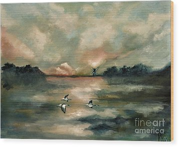 Wood Print featuring the painting Flying Geese by Maja Sokolowska