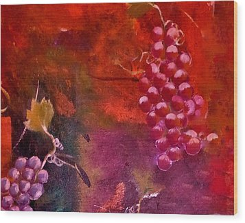 Wood Print featuring the painting Flying Grapes by Lisa Kaiser
