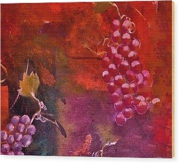 Flying Grapes Wood Print by Lisa Kaiser