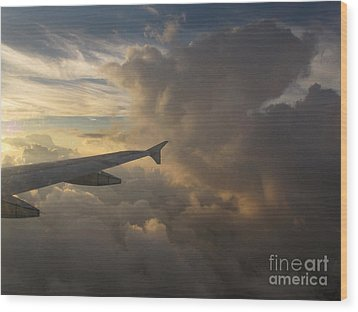 Wood Print featuring the photograph Flying In The Clouds by Inge Riis McDonald