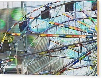 Flying Inside Ferris Wheel Wood Print by Luther Fine Art
