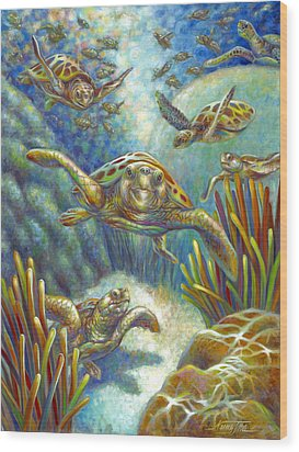 Wood Print featuring the painting Flying Loggerhead Turtles by Nancy Tilles