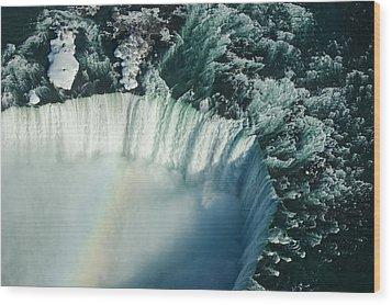 Flying Over Icy Niagara Falls Wood Print