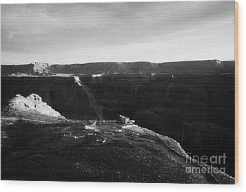 Flying Over Land Approaches To The Rim Of The Grand Canyon At Eagles Point In Hualapai Indian Reserv Wood Print by Joe Fox