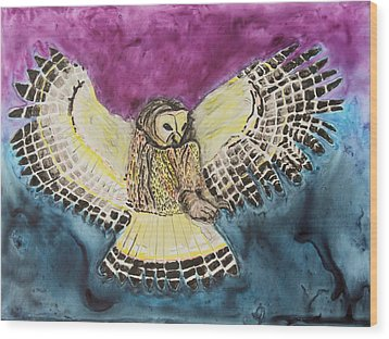 Wood Print featuring the painting Flying Owl by Jeanne Fischer