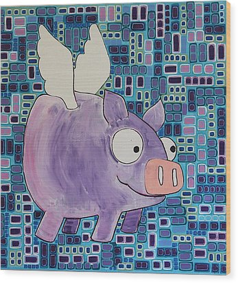 Flying Pig Wood Print