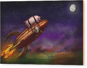 Flying Pig - Rocket - To The Moon Or Bust Wood Print by Mike Savad