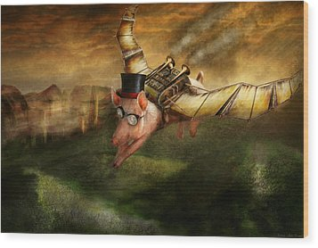 Flying Pig - Steampunk - The Flying Swine Wood Print by Mike Savad