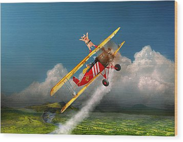 Flying Pigs - Plane - Hog Wild Wood Print by Mike Savad