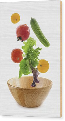 Flying Salad Wood Print