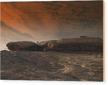 Flying Saucer Rock Wood Print by Jeff Swan