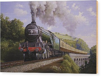 Flying Scotsman On Broadsands Viaduct. Wood Print by Mike  Jeffries