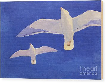 Flying Seagulls Wood Print