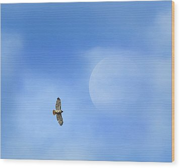 Flying To The Moon Wood Print by Bill Wakeley