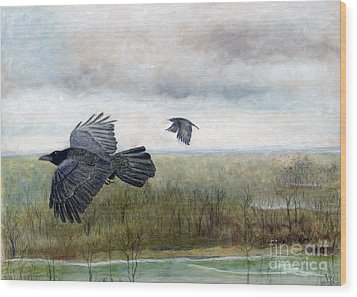 Flying To The Roost Wood Print by Barb Kirpluk