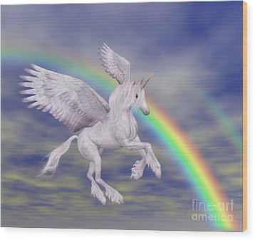 Flying Unicorn And Rainbow Wood Print