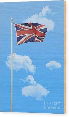 Flying Union Jack Wood Print by Amanda Elwell