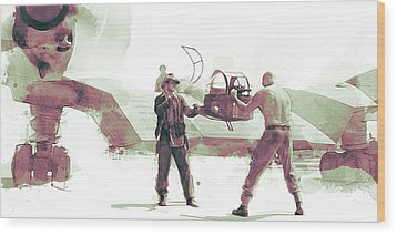 Flying Wing Battle Wood Print