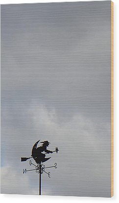 Flying Witch - Piazza Palio - Khaoyai Thailand - 01131 Wood Print by DC Photographer