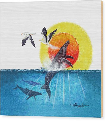 Flying With Whales Wood Print by David  Chapple