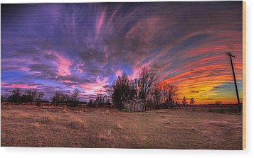 Fm Sunset Pano In Needville Texas Wood Print