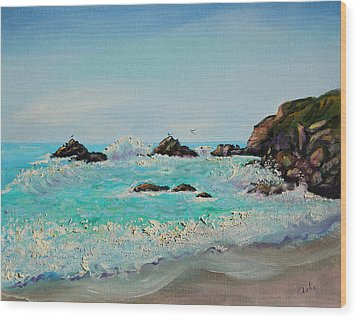 Wood Print featuring the painting Foamy Ocean Waves And Sandy Shore by Asha Carolyn Young
