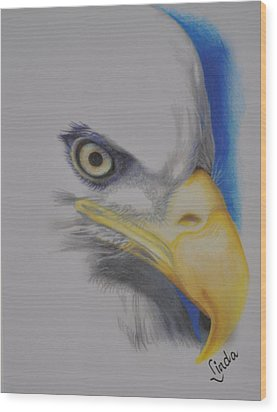 Focused Eagle Wood Print