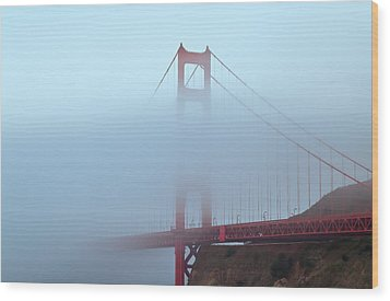 Fog And The Golden Gate Wood Print by Jonathan Nguyen
